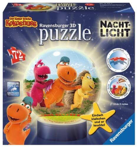 Ravensburger 121588  3D Puzzle-Ball Nachtlicht kleine Drache Kokosnuss 72 T.