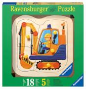 Ravensburger 32266  Kontur-Holzpuzzle Gelbe Bagger 5 Teile