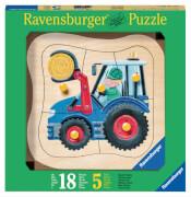 Ravensburger 32297  Kontur-Holzpuzzle Blauer Traktor 5 Teile