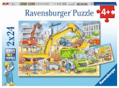 Ravensburger 078004 Kinderpuzzle Viel zu tun auf der Baustelle 2 x 24 Teile