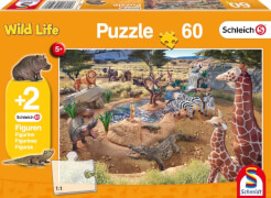 Schmidt Puzzle 56191 Schleich, mit zwei Figuren, An der Wasserstelle, 60 Teile, ab 5 Jahre